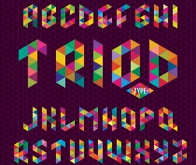 Triangle colorful alphabet vector material