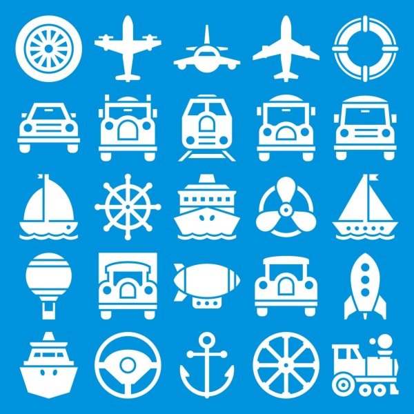 Various transport icon vector