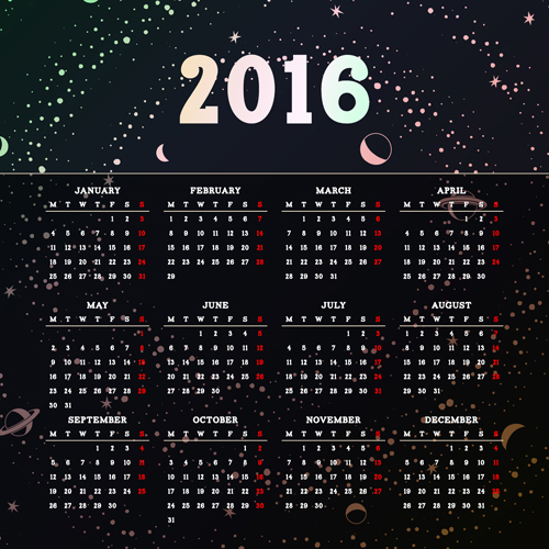 Vector grid calendar 2016 design material 01