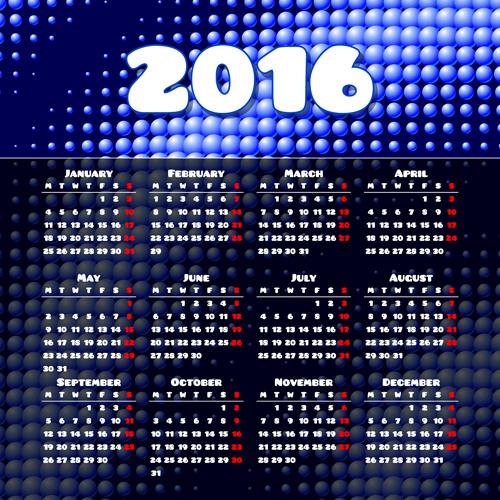 Vector grid calendar 2016 design material 02