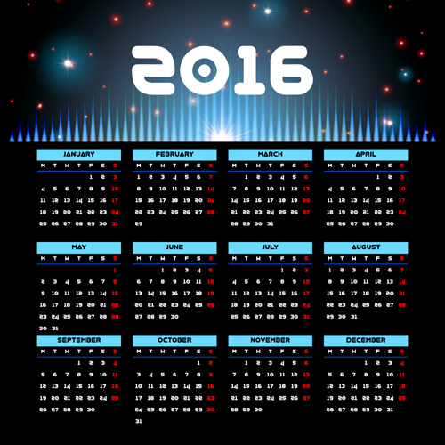 Vector grid calendar 2016 design material 03