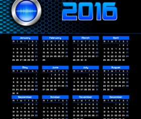Vector grid calendar 2016 design material 07