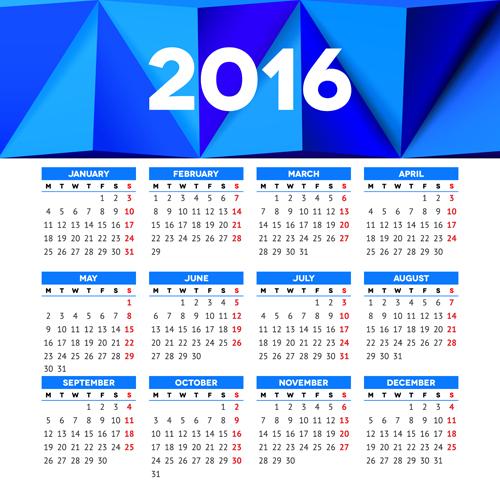 Vector grid calendar 2016 design material 08