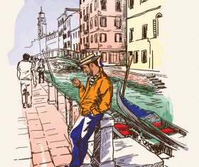 Venice italy hand drawn town background vector 01