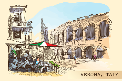 Venice italy hand drawn town background vector 02