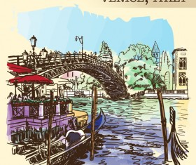 Venice italy hand drawn town background vector 03