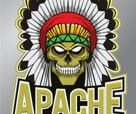 Vintage apache logo vector material 01