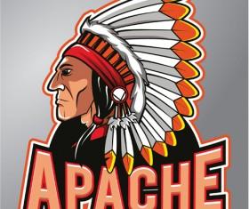 Vintage apache logo vector material 02