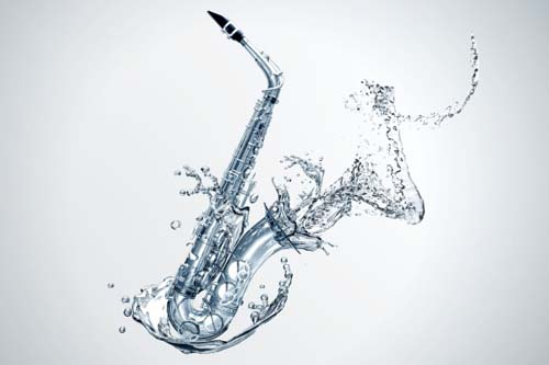 Water effects saxophone psd background