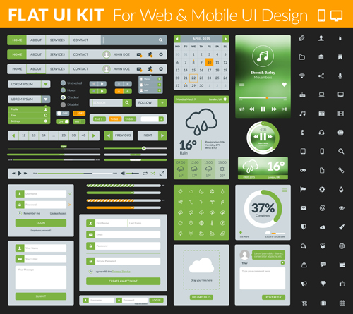 Set of flat design UI elements for website and mobile applicatio