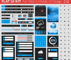 Website with mobile flat UI design vector 02