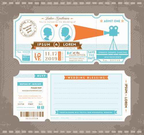 Wedding Invitation ticket template vector 02