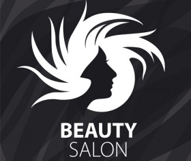 Woman head with beauty salon logos vector 01