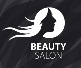 Woman head with beauty salon logos vector 02