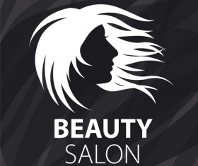 Woman head with beauty salon logos vector 04