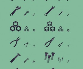 Working tools black icons