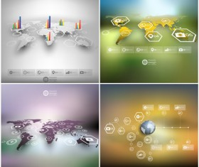 World maps infographics design vectors 03