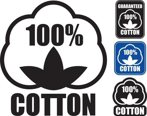 100% cotton premium quality labels vector 01
