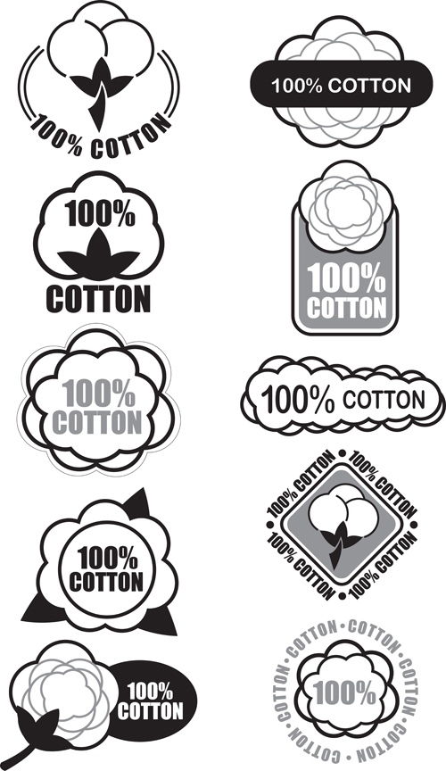 100% cotton premium quality labels vector 03