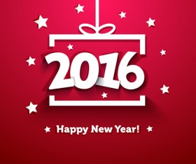 2016 Happy New Year red background vector 02