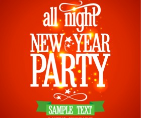 2016 New year party poster with red background vector