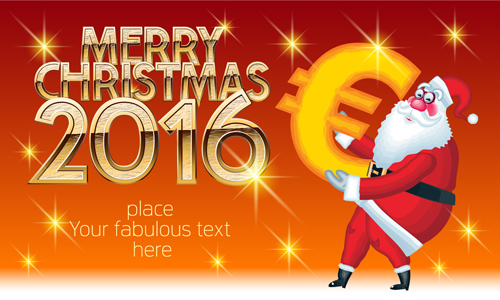 2016 merry christmas with funny santa vector design 06 - Funny Merry Christmas