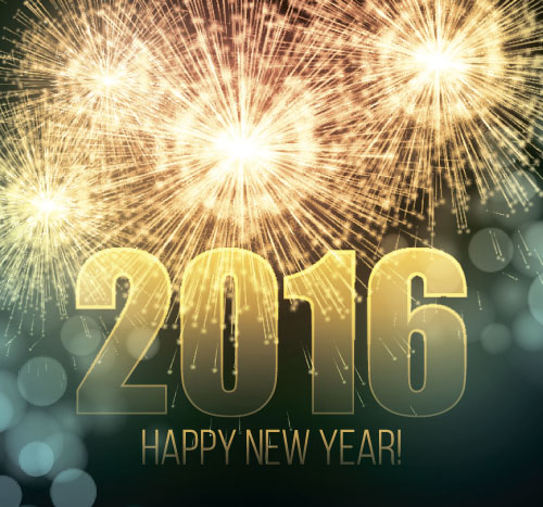 2016 new year with firework background vector 02 vector