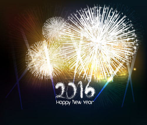 2016 new year with firework background vector 06 vector