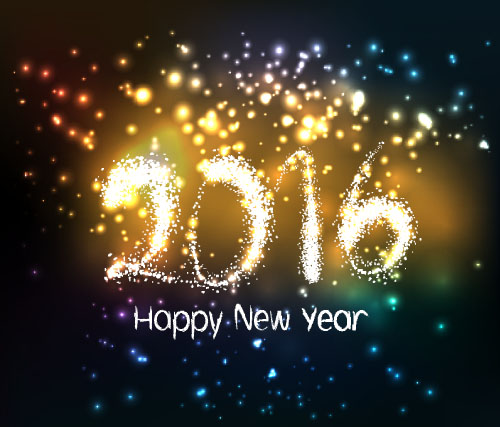 2016 new year with firework background vector 08 vector
