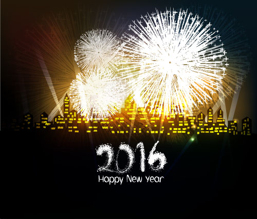 2016 new year with firework background vector 09 free download