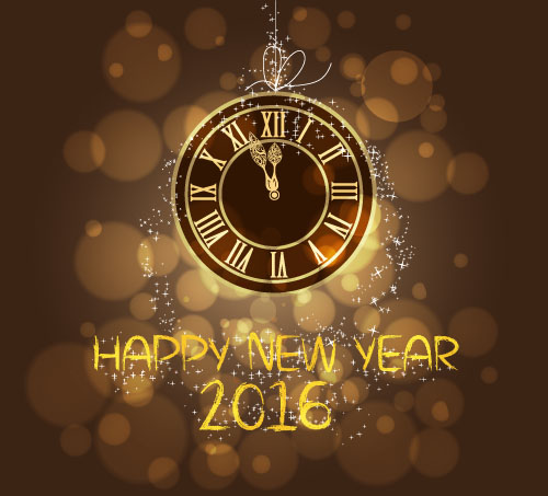 2016 new year with vintage clock vector