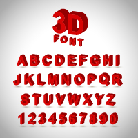 3D red Letters and numbers vector