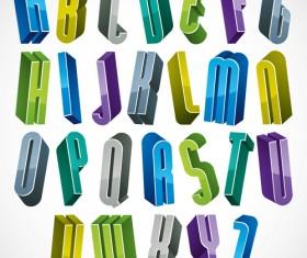 3D shiny alphabets vector