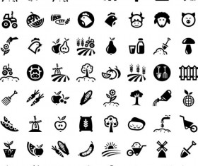 64 Kind farm icons set