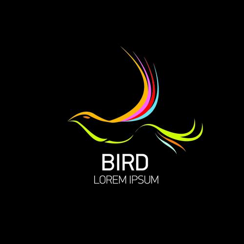 Abstract birds logos creative design vector 01