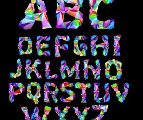 Alphabet colorful geometric shapes fonts vector