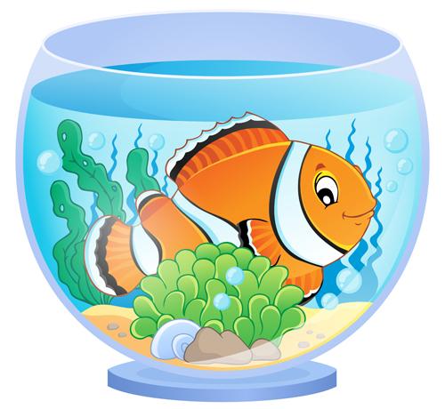 Aquarium With Fish Cartoon Vector Set 01 Free Download