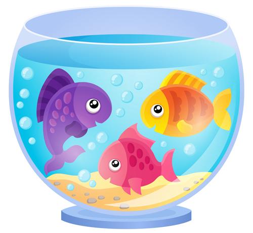 Aquarium With Fish Cartoon Vector Set 07 Free Download
