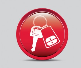 Auto key icons red vector 01