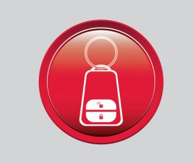 Auto key icons red vector 02