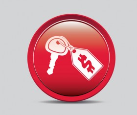 Auto key icons red vector 03