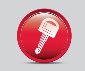 Auto key icons red vector 04