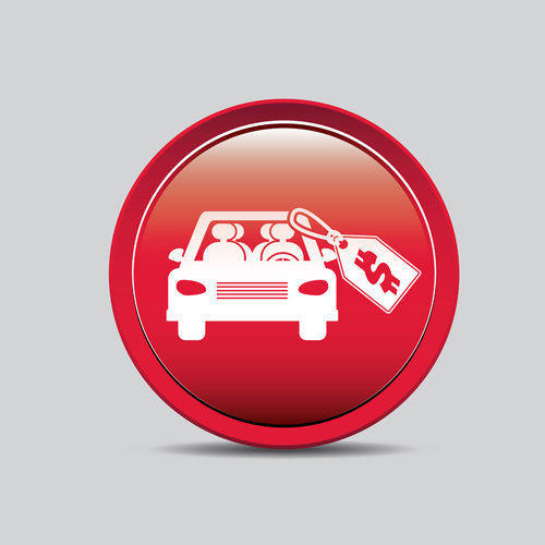 Auto key icons red vector 05