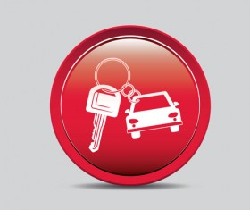 Auto key icons red vector 06
