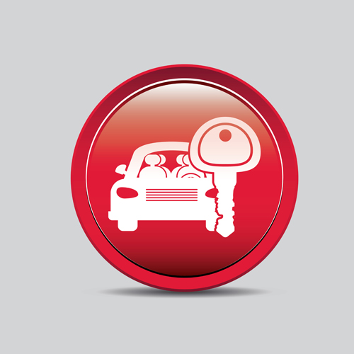 Auto key icons red vector 07