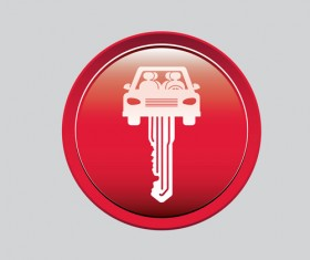 Auto key icons red vector 08
