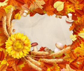 Autumn leaves with wheat and mushrooms frame background vector