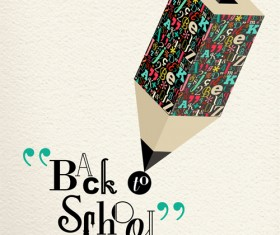 Back to school pencil creative template vector 01