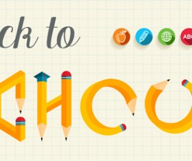 Back to school pencil creative template vector 02