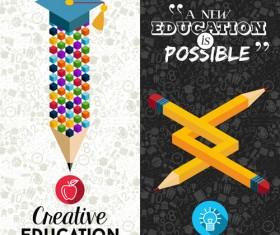 Back to school pencil creative template vector 10